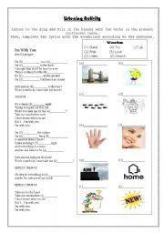 English Worksheet: Song Worksheet - I�m with you by Avril Lavigne
