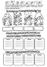 English Worksheet: SEASONS+MONTHS+WEATHER