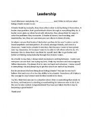 Worksheets Leadership Worksheets worksheet leadership a speech 2 english 2
