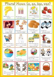 English Worksheets: Plural Nouns (s, es, ies & ves + answer keys included)