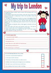 English Worksheets: My trip to London (two pages)