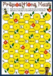 English Worksheets: Adjective + Prepositions Maze (B & W)