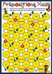English Worksheet: Adjective + Prepositions Maze (B & W)