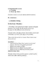 English Worksheet: Speaking lesson plan for expressing preferences