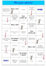 English Worksheet: giving opinions - snakes and ladders - boardgame