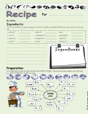 English Worksheet: My favorite recipe