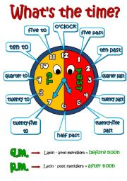 English Worksheet: What�s the time? *2 pages - A POSTER + exercises* (B&W included)