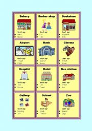 English Worksheet: Taboo cards - Places in city
