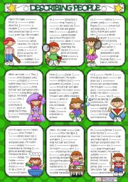 English Worksheet: Describing People **TO BE - HAVE GOT - HAS GOT** ( B&W+KEY included )