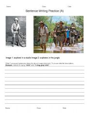 English Worksheets: 3 Level Sentence Writing - ADEC theme Exploration and Discovery