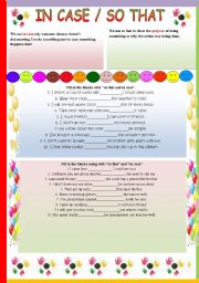 English Worksheets: SO THAT/ IN CASE