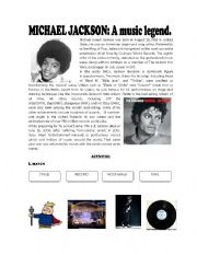 English Worksheets: Michael Jackson: a music legend