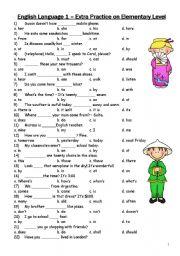 English Worksheets: practice on elementary level (language leader - elementary)