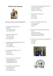 English Worksheet: William and Kate first interview after announcement- Youtube video