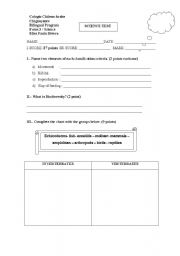 English Worksheets: A science test about vertebrates and invertebrates