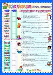 English Worksheet: WORD FORMATION- NOUNS FROM VERBS