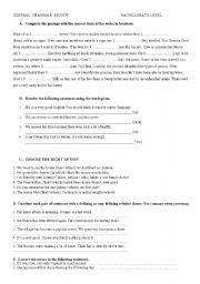 Grammar review  Advanced Level