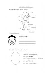 English Worksheets: BODY AND FACE REVISION