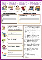 English Worksheet: Do Does Don�t Doesn�t