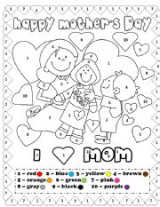 English Worksheet: Happy mother´s day coloring by number