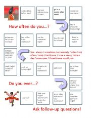 English Worksheet: How often do you... Board Game