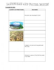 English Worksheet: Landforms and water bodies