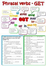English Worksheets: Phrasal verbs - GET (B&W + KEY included)
