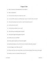 English Worksheets: Dragons Den questions