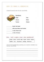 English Worksheets: how to make a sandwich
