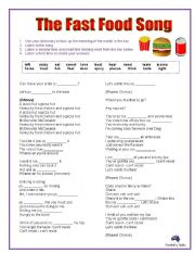 The FAST FOOD Song: cloze activity