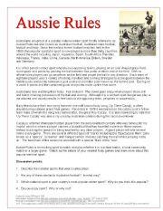 English worksheet: Australian Football