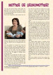 English Worksheet: reading - Late Motherhood (genetic engineering / bioethical issues)+ comprehension