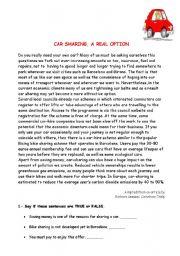 English Worksheets: SHARING CARS