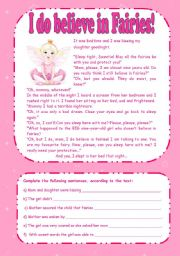 English Worksheets: Reading Comprehension (I do believe in fairies!) with key