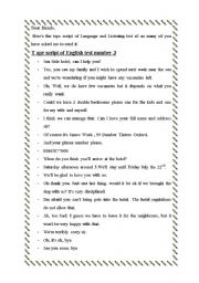 English Worksheet: tape script of language and listening test n3