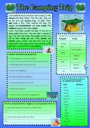 English Worksheet: The Camping Trip