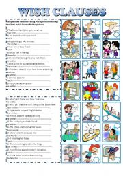 English Worksheet: WISH CLAUSES
