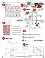 English Worksheet: Around The World Series_01 Canada (Fully Editable + Key)