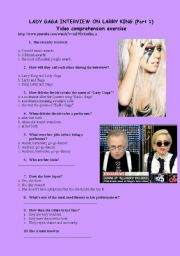 English Worksheets: Lady gaga interview on Larry King. Video comprehension exercise