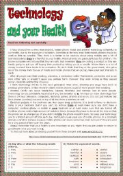 English Worksheet: Technology and your health