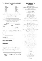 English Worksheet: Just the way you are Bruno Mars