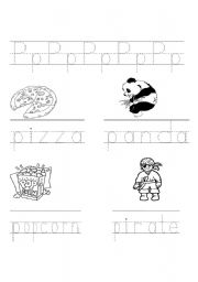 English Worksheets: P Sound writing practice