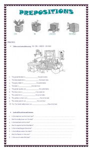 English Worksheets: PREPOSITIONS ON - IN - UNDER - BEHIND