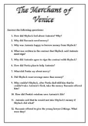 English Worksheets: The Merchant of Venice