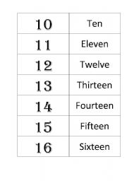 English Worksheets: memory game numbers