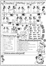 English Worksheet: personal pronouns and have got
