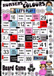 English Worksheets: Numbers and Colours - BOARD GAME