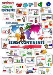 English Worksheet: WORLD  continents - countries - nationalities