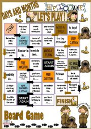English Worksheet: Days and Months - BOARD GAME