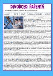 English Worksheet: reading - Divorced Parents + comprehension + KEY